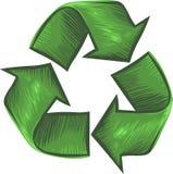 Orgánica, la mano drenada recicla símbolo Fotografía de archivo libre de regalías