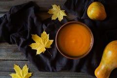 Orgánico sano de la sopa natural cremosa de la calabaza Fotos de archivo libres de regalías