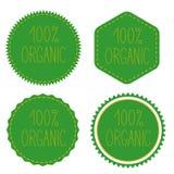 100% orgânico Crachás verdes, etiquetas, logotipo, selo Imagens de Stock Royalty Free