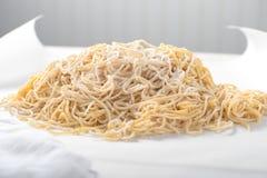 Orgânico fresco dos espaguetes caseiros frescos da massa foto de stock royalty free