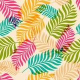 Картина вектора безшовная красочных листьев пальмы Org природы Стоковые Фото