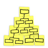 Org Chart Pyramid Chart Drawn on Sticky Notes royalty free illustration