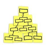 Org Diagramm-Pyramide-Diagramm gezeichnet auf klebrige Anmerkungen Stockfoto