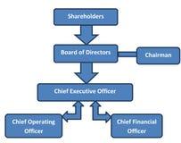Org för företags struktur diagram Arkivbilder