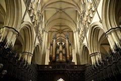 Orgaan en koor binnenlandse mening van Beverely-Munster van het koor, Beverley, het Berijden van het Oosten van Yorkshire, het UK stock afbeeldingen