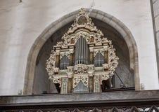 Orgaan van het koor van het Literaire Broederschap, Kerk van Heilige Vitus, Cesky Krumlov, Tsjechische Republiek stock afbeeldingen