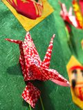 Orgami crane. Specific Japanese paper crane decoration.Detail of a very beautiful and complex decoration during Tanabata Matsuri (Stars festival) in Sendai Japan Stock Image