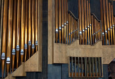 Organ. Copper pipe organ music tool to be Stock Images