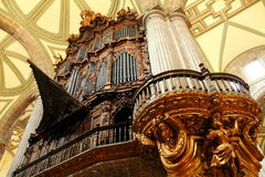 Organ. Ancient pipe organ as part of the catholic metropolitan cathedral in mexico city Stock Photography
