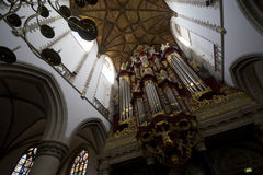 Organ. Looking up at an organ in a church in the Netherlands Stock Image