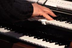 Organ. Player play on wedding stock photo