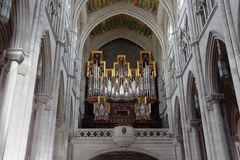 Organ in Almudena Cathedral Stock Photography