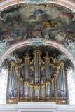 Organ av abbotskloster på St Gallen på Schweiz Royaltyfri Fotografi