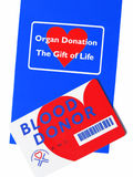 Organ & Blood donor info. Organ & Blood donor card & pamphlet royalty free stock images