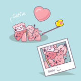 Organ cartoon take selfie Royalty Free Stock Image