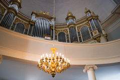 Organ in the Cathedral of Helsinki. Finland. Helsinki. Finland. Interior with organ in the City Cathedral on Senate Square Royalty Free Stock Photography