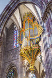 Organ in the Cathedral of Strasbourg Royalty Free Stock Photo