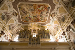 Organ and Painting on Church-Ceiling Munich royalty free stock photo
