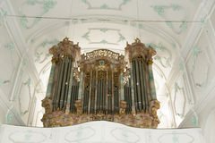 Organ in Church in Germany. Organ in Evangelical Lutheran Church St. Stephan in Lindau, south of Bavaria, Germany Stock Image