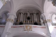 Organ of a church of Heidelberg in Germany Stock Photography