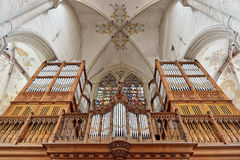 Organ in church Saint Walburga in Oudenaarde Royalty Free Stock Images