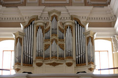 Organ in the church. Vilnius Stock Images