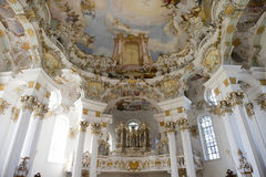 Organ Church Wies. Wieskirch - Organ and ceiling Church of Wies in Bavaria near Fuessen Royalty Free Stock Photography