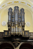 Organ in Collegiate church of Saint-Denis of Liege. Royalty Free Stock Images