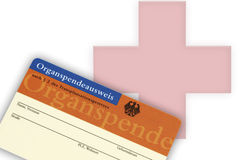 Organ donation card on white background, close-up Royalty Free Stock Images