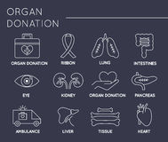 Organ Donation icon set Stock Image