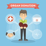 Organ donation man. Boy donates kidney to people stock illustration