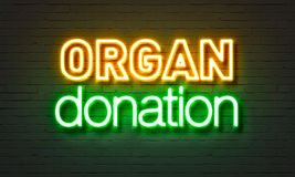 Organ donation neon sign on brick wall background. Organ donation neon sign on brick wall background Royalty Free Stock Photo