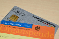 Organ donor card. German organ donor identity card royalty free stock photography