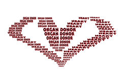 Organ donor, text in heart shape Royalty Free Stock Photography