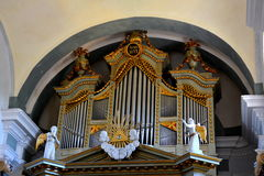 Organ in the fortified medieval saxon churc in the village Crit, Transylvania. Stock Photography