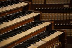 Organ with four manuals. Great Organ with four Manuals stock photography