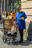 Organ Grinder. Dressed as a Prussian officer. Berlin, Germany Royalty Free Stock Image