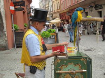 Organ-grinder in Lublin. Folk crafts fair in Lublin royalty free stock images
