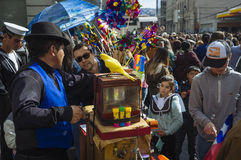 Organ grinder. Valparaiso, Chile. May 21, 2017. Civic military celebration for May 21 in the port of Valparaiso. `Organillero` Organ grinder, traditional Stock Image