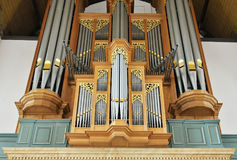 Organ in Grote Kerk Den Haag or Grote of Sint-Jacobskerk. HAGUE, NETHERLANDS-AUGUST 01, 2014: Organ in Grote Kerk Den Haag or Grote of Sint-Jacobskerk Royalty Free Stock Photography