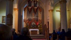Organ Hall in the Catholic Church stock video