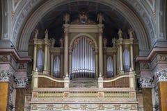 Organ i basilika av Eger, Ungern Arkivfoto