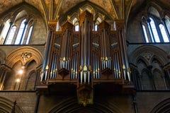 Organ i det cathredral i Worcester Arkivfoto