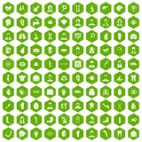 100 organ icons hexagon green. 100 organ icons set in green hexagon isolated vector illustration Stock Images