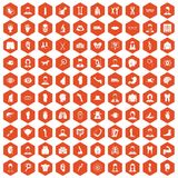 100 organ icons hexagon orange. 100 organ icons set in orange hexagon isolated vector illustration Royalty Free Stock Photos