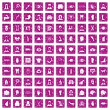 100 organ icons set grunge pink. 100 organ icons set in grunge style pink color isolated on white background vector illustration Stock Image