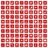 100 organ icons set grunge red. 100 organ icons set in grunge style red color isolated on white background vector illustration Stock Image