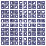 100 organ icons set grunge sapphire. 100 organ icons set in grunge style sapphire color isolated on white background vector illustration royalty free illustration