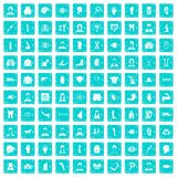100 organ icons set grunge blue. 100 organ icons set in grunge style blue color isolated on white background vector illustration Royalty Free Stock Image