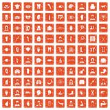 100 organ icons set grunge orange. 100 organ icons set in grunge style orange color isolated on white background vector illustration Stock Images